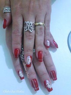 Red has it Great Nails, Fabulous Nails, Pedicure Designs, Nail Art Designs, Finger, Long Nail Art, Flower Nails, Nail Arts, Christmas Nails
