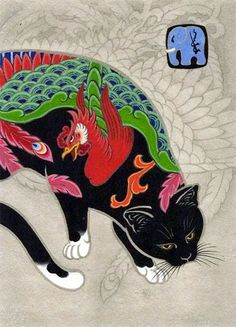 California based Japanese artist Kazuaki Horitomo composes surreal illustrations that depict adorable scenes with cats in them. Japanese Hand Tattoos, Japanese Tattoo Designs, Japanese Cat, Japanese American, Japanese Sleeve, Japanese Artwork, Japanese Prints, Graffiti Tattoo, Oriental Cat