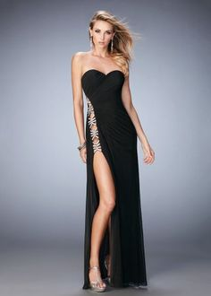2016 22125 Alluring Side Cut Out Strapless Evening Gown
