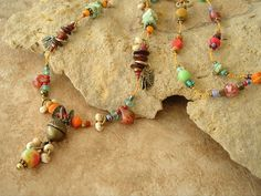 Boho Necklace Colorful Mixed Stone Beaded Bracelet by BohoStyleMe, $79.00