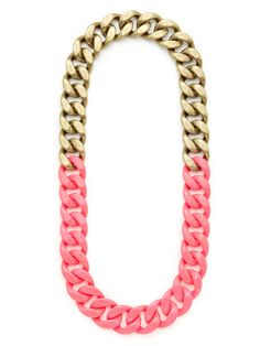 Gold & Neon Pink Link Necklace by Adia Kibur