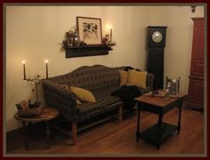 FARMHOUSE – INTERIOR – early american decor inside this vintage farmhouse seems perfect with willow ridge primitives.