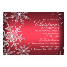 Red Crystal Snowflake Christmas Dinner Party Personalized Invites.  Artwork designed by Zizzago. $2.01