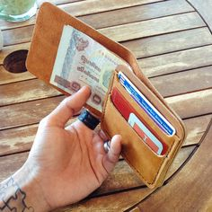 Minimal Tan Oil Leather wallet Half wallet Slim by 896LeatherShop