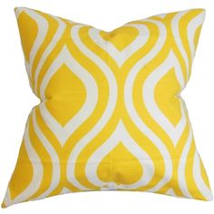 Larch Geometric Yellow Feather Filled 18-inch Throw Pillow ($53) ❤ liked on Polyvore featuring home, home decor, throw pillows, pillows, yellow, square throw pillows, yellow toss pillows, geometric pattern throw pillows, patterned throw pillows and yellow home accessories