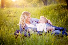 Mommy and son in the field