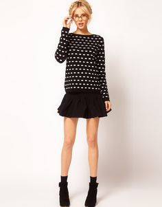 add some black tights and cute booties and I'm ready for sweater weather1(ASOS Mini Skirt with Trumpet Hem)