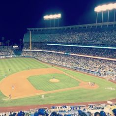 THINK BLUE: Apparently we witnessed a 'no hitter': rare occasion in baseball when a pitcher bowls a perfect game and the opposing team don't hit a single ball. I just wanted to see some home runs and eat some Dodger Dogs! #itfdb #dodgers #baseball #losangeles #california #usa # #backpacking #underworld by johnnyflatliner
