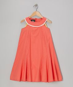 Another great find on #zulily! Coral Ladybird Morning Glory Yoke Dress - Infant, Toddler & Girls by Llum #zulilyfinds