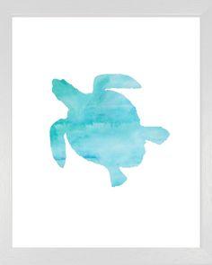 Water Color Turtle Print, Sea Print, Nautical Water Color Art,Beach Decor…