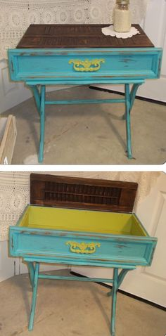 Adorable table with a luggage rack, old dresser drawer & old shutters for the top. ~ by Feather Your Nest, Seguin TX