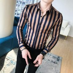 2018 New Business Shirt Men High Quality Turn Down Collar Slim Fit Men – geekbuyig Formal Shirts For Men, Men Dress, Shirt Dress, Business Shirts, Stylish Mens Outfits, Spring Shirts, Shirt Men, Men Shirts, Tracking Number