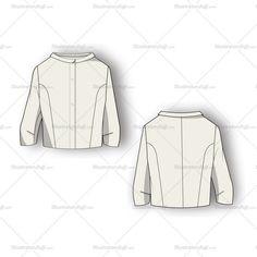 Women's Three Quarter Sleeve Blouse Fashion Flat Template