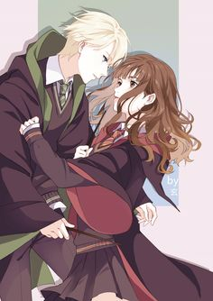 Dramione anime shared by Vanya Anne on We Heart It Fanart Harry Potter, Harry Potter Hermione Granger, Draco Malfoy, Harry And Hermione Fanfiction, Hermione Fan Art, Harry Potter Couples, Arte Do Harry Potter, Draco And Hermione, Harry Potter Ships