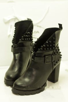 Womens Vintage Buckle Strap Studed Chunky Heels Platform Punk Goth Ankle Boots  #FashionAnkle