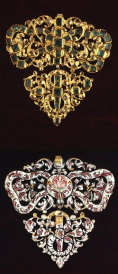 Breast ornament in gold; set with table-cut emeralds and diamonds, with the upper part comprising an openwork design of a bow entwined with foliate tendrils and a hinged lower part of an openwork foliate design incorporating an S pierced by a nail. The reverse is enamelled in pink and black on a white enamel ground with a flowing design of flowers and foliage. Ca. 1650. Text from catalogue of the Hull Grundy Gift.