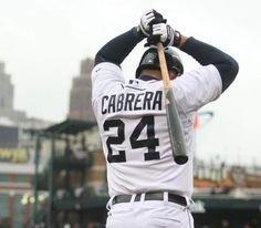 Detroit Tigers' Miguel Cabrera waits to bat against the Baltimore Orioles on April 4, 2014.