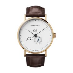 KOPPEL - 41 mm, Automatic mechanical, annual calender, 18 kt. yellow gold, brown alligator strap