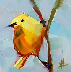 Yellow Warbler no. 41 original bird oil painting by Angela Moulton 5 x 5 inches…