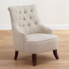 Cute-as-a-Button Erin Chair traditional armchairs/ world market. I want this and the love seat and the headboard! Cute Living Room, Living Room Chairs, Living Room Furniture, Home Furniture, Living Rooms, City Living, Furniture Ideas, Bedroom Chair, Bedroom Decor