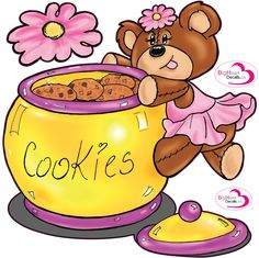 Shella Bear Sneaks a Cookie! from Big Heart Decals Inc. Made in Canada. Fabric stickers or wall decals for nursery or kids playrooms. Sticks on walls, windows and flat surfaces.  Movable, removable, no residue.  Price: $50.00 - 24 x 24 inches