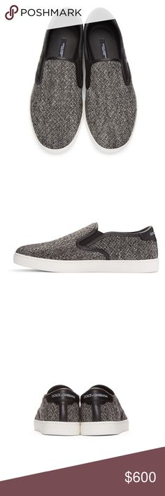 Grey Tweed Slip-On Sneakers 100% Authentic Brand new, Never worn Dolce & Gabbana Shoes Sneakers