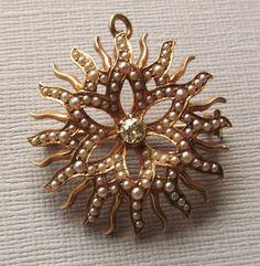 Victorian Starburst Brooch Pin 14 Karat Gold Seed Pearls Diamond Antique Pendant Jewelry 485