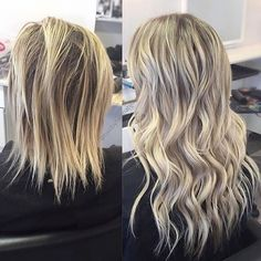 Before & after Bombshell Extensions hand tied wefts! Hair by Hannah located at Habit Salon! #naturalbeadedrows #extensions #habitsalon #bombshellextensions # blondehair