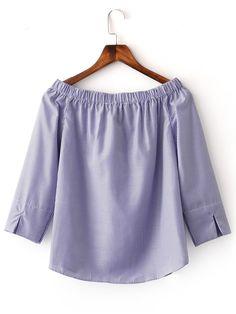 Shop Blue Boat Neck Split Cuff Stripe Blouse online. SheIn offers Blue Boat Neck…
