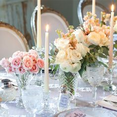 A Bridal Fête | tablescape with crystal, lace, and flowers