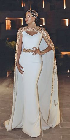 Mermaid Wedding Dresses mermaid wedding dresses simple with cape gold trendy said mhamad official - Women's lace wedding dresses with sleeves is considered to be one of the most relevant models this season.Lace wedding dress is stylish at all times. Elegant Wedding Gowns, Elegant Dresses, Dream Wedding Dresses, Bridal Dresses, Beautiful Dresses, Wedding Dress Cape, Fancy Dresses For Weddings, Wedding Dress With Gold, Wedding Jumpsuit