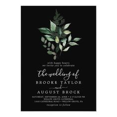 Emerald Greenery | Black The Wedding Of Invite with dark green moody watercolor leaves and eucalyptus with a modern woodland boho feel on a black background. Click to customize with your personalized details today. Green Wedding Invitations, Beautiful Wedding Invitations, Rustic Invitations, Bridal Shower Invitations, Invitation Design, Invite, Invitation Ideas, Emerald Green Weddings, Rustic Save The Dates