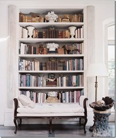 French Colonial ● Vintage Bookshelf I want bookshelves in my house! Home Living, Living Spaces, Vintage Bookshelf, Sweet Home, Bookshelf Styling, Bookcase Lighting, Bookshelf Decorating, Tree Bookshelf, Bookshelf Organization