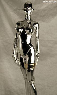 Metallic Modernized Rosie the Robot Cyberpunk Kunst, Statue, Female Cyborg, Futurism Art, Robot Girl, Space Girl, Retro Futuristic, Art For Art Sake, Machine Design