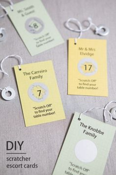 Use our easy step-by-step tutorial and free design downloads to print and make your very own scratcher escort cards!