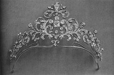 A diamond tiara of Princess Vera Lobanov-Rostovsky.  She had a collection. [View 2 - solid background]