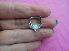 Opal angel wing heart septum nose ring clicker
