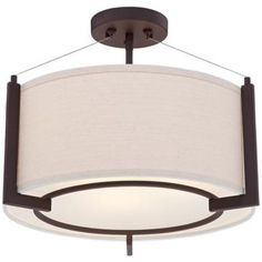 "Stinson 16 1/4"" Wide Linen and Bronze Ceiling Light"