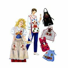 Simplicity Crafts Pattern #7889 ~ Misses Half and Full Size Aprons with Theme Appliques ~ All Sizes