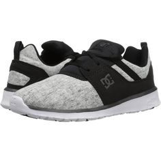 DC Heathrow SE (Black/Charcoal) Women's Skate Shoes ($56) ❤ liked on Polyvore featuring shoes, black, charcoal shoes, charcoal grey shoes, charcoal gray shoes, genuine leather shoes and cap toe shoes