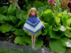 Puppenkleidung - Poncho  *** für Barbie *** blau-weiss - ein Designerstück von Sabisilke bei DaWanda