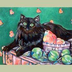 Plumi with Pears Original Cat Art Print
