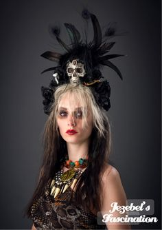 Voodoo Preistess - Gypsy Skull Crown Swamp Laveau Rose Lace Gem Dead Black Fascinator Aztec Headdress Peacock Rooster Feathers Snake Vial Halloween  Costume Headpiece Gothic Accessory - pinned by pin4etsy.com