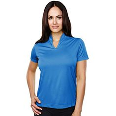 Womens Polyester UltraCool Short Sleeve Mandarin Open Collar Textured Knit Shirt * Click image to review more details. (This is an affiliate link) #Clothing