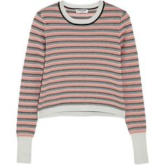 Striped jacquard-knit sweater ($92) ❤ liked on Polyvore featuring tops, sweaters, knit sweater, stripe sweater, jacquard top, opening ceremony and opening ceremony sweater