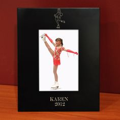 Engraved Black Figure Skating Picture Frame | Figure Skating Gift Idea | Figure Skating Photo Frame. Cute for your first Pro. Pic. when you first started!