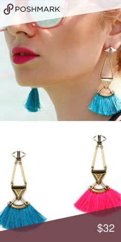 Hot Pink or Bright Blue - Fan Fringe Earrings These long and vibrant fan fringe earrings are the ultimate finishing touch to you summer wardrobe and accessories collection! Jewelry Earrings