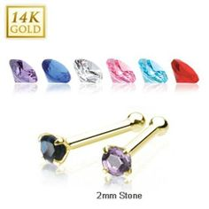 {Clear} 14 Karat Solid Yellow Gold 2mm Prong CZ Nose Stud Ring - 20 GA - Clear West Coast Jewelry. $20.95