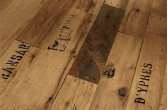 A highly unusual Oak floor, these Parador Seaport planks give the impression of being made from reclaimed shipping timbers. An oiled oak flooring. Unique Flooring, Wooden Flooring, Engineered Wood Floors, Hardwood Floors, My Unique Style, Signage Design, Wood Crates, Inspiration, Patterns
