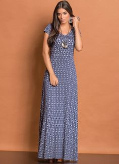 Vestido Longo Evasê (Estampado)